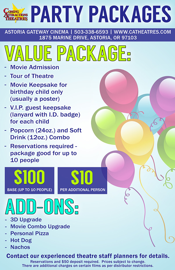 Party Package Astoria Gateway Cinema