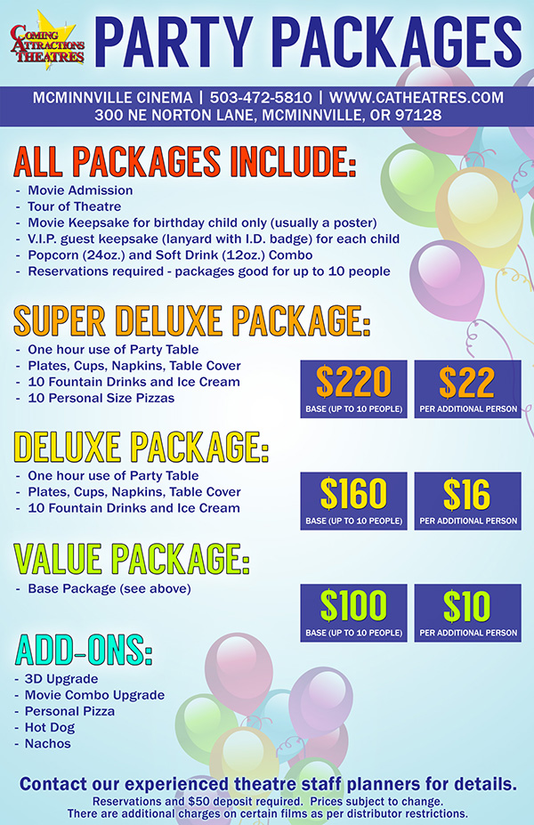 Party Package McMinnville Cinema
